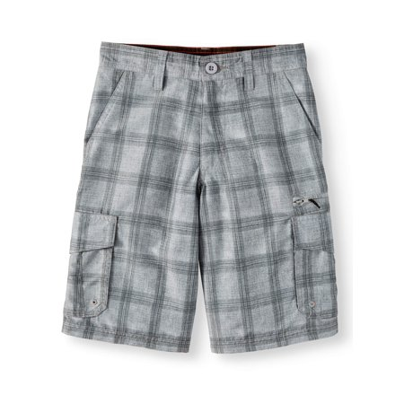 - Big Boys' Microfiber Plaid Cargo Shorts