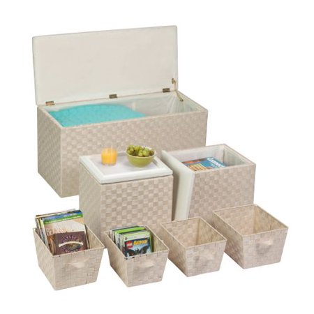 Honey Can Do 7pc ottoman storage set, cream - Honey Can Do 7pc Ottoman Storage Set, Cream - Walmart.com