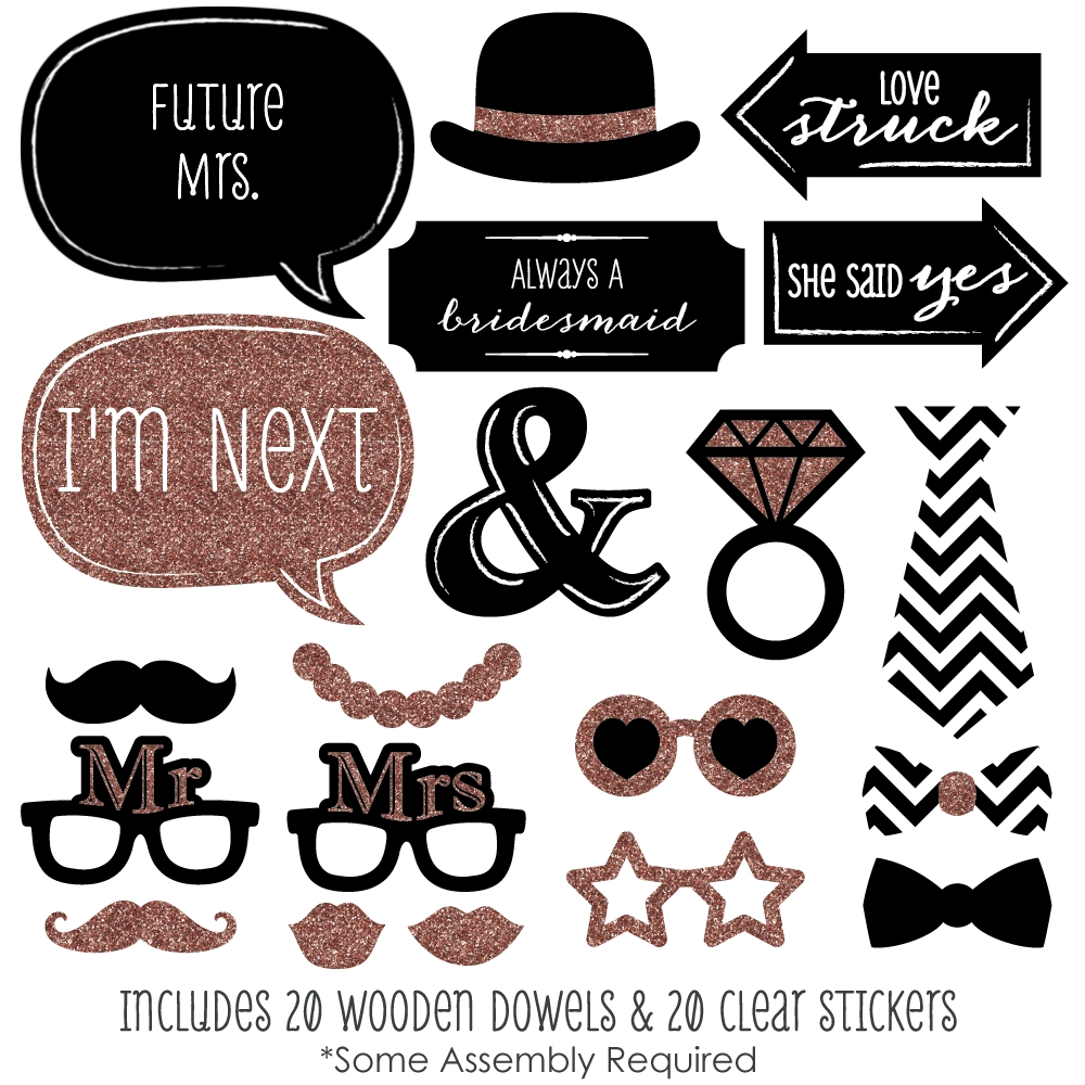 Rose Gold Bridal Shower Photo Booth Props Kit 20 Count