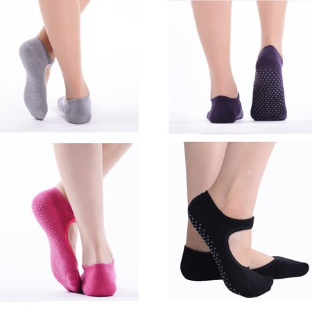 Lot de 4 femmes Chaussettes de yoga Antiderapant Skid Barre Sock avec poignées pour le yoga Pilates Barre Studio