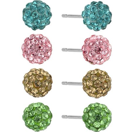 Crystal Pave Sterling Silver Fireball 4-Pair Button Earrings Multiples Set