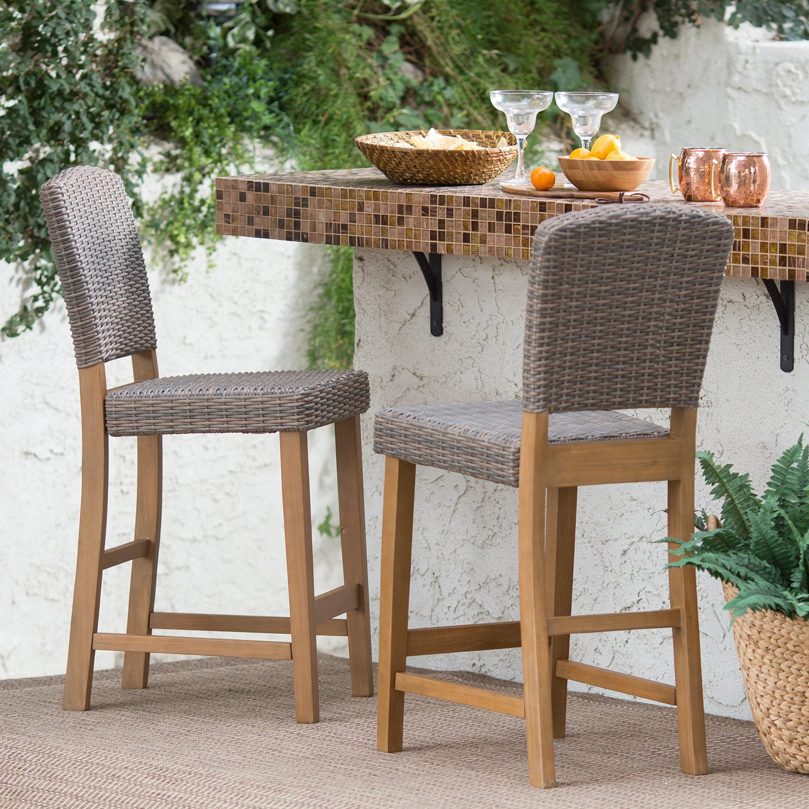 Outstanding Coral Coast Avalonia All Weather Wicker Counter Height Patio Bar Stool Set Of 2 Spiritservingveterans Wood Chair Design Ideas Spiritservingveteransorg