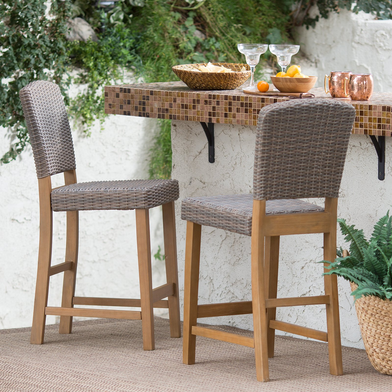 Superbe Coral Coast Avalonia All Weather Wicker Counter Height Patio Bar Stool    Set Of 2