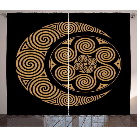 Earthy Curtains 2 Panels Set, Celtic Moon and Sun with Spiral Motifs Esoteric Bohemian Spiritual Symbol, Window Drapes for Living Room Bedroom, 108W X 84L Inches, Black Pale Orange, by Ambesonne