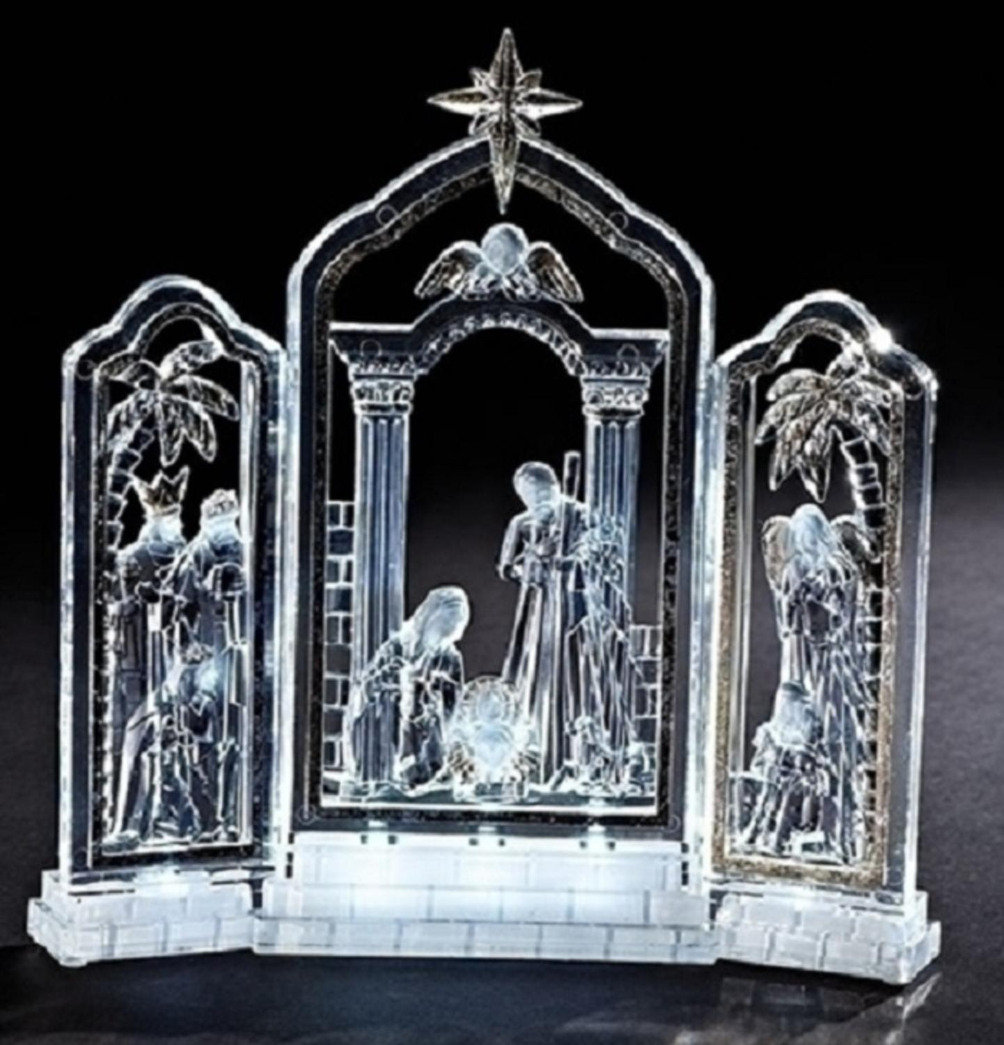"""10"""" Gold Leafed LED Lighted Religious Christmas Nativity Triptych Decoration - image 1 of 1"""