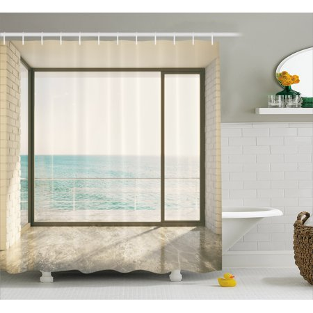 Beach Shower Curtain Apartment Scenery With Wavy Sea Ocean Coastal Home Design Arwork Fabric
