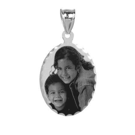 Personalized Sterling Silver Black and White Diamond Cut Bordered Photo