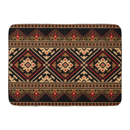 Embroidered Mat Standard - GODPOK Stitch Colorful Border of Ukrainian Folk Ethnic Embroidery Embroider Rug Doormat Bath Mat 23.6x15.7 inch