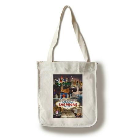 Las Vegas  Nevada   Casinos And Hotels Montage   Lantern Press Artwork  100  Cotton Tote Bag   Reusable