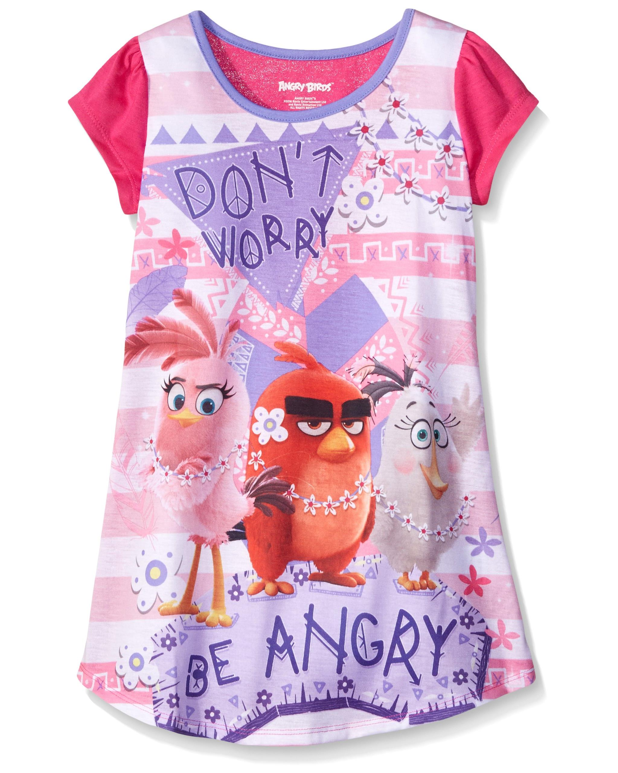 Angry Birds Girls Red Fleece Nighgown Im Busy Nightshirt