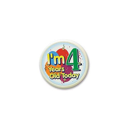 I'm 4 Years Old Today Flashing Button (Pack of 6)
