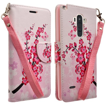 For LG G Stylo Stylus LS770, G Vista 2 H740 - Hybrid PU Leather Wallet Credit Card Money Slots Kickstand with Strap Phone Case Cover in Cherry (Cherry Phone Cover)