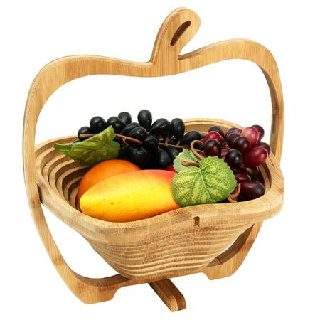 Moaere Collapsible All-Natural Bamboo Apple Shaped Vegetable Basket Fruit Plates Grape - Bamboo Fruit Basket