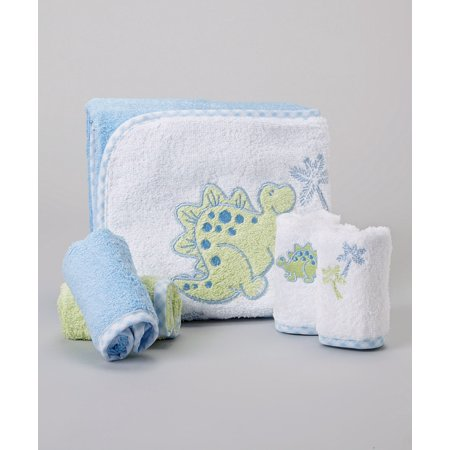 Spasilk Hooded Towel & 4 Washcloth Set, Blue Dino