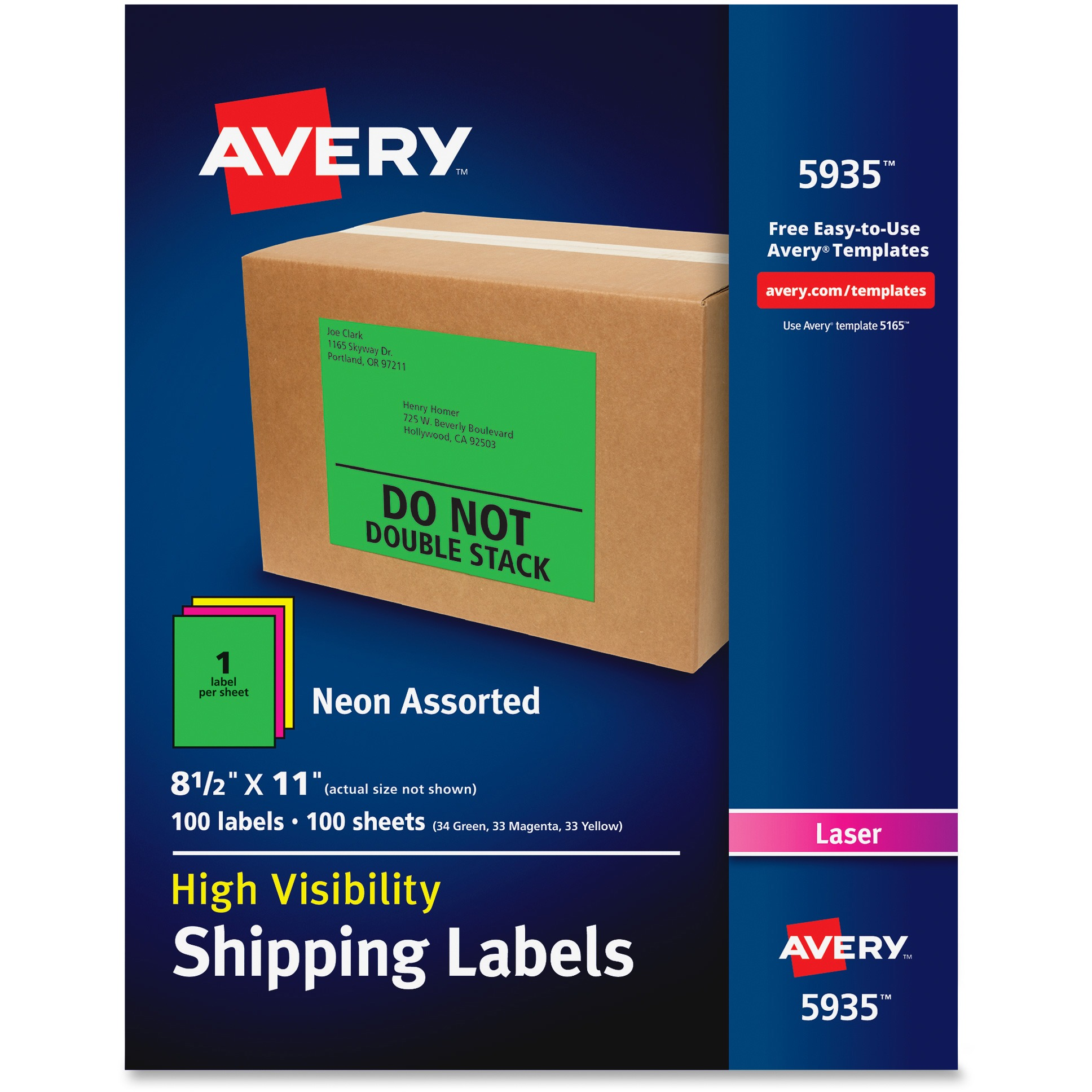 Avery Neon Shipping Label, Laser, 8 1/2 x 11, Neon Assorted, 100/Box