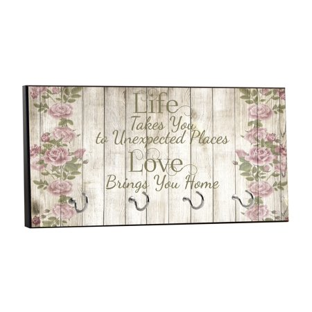 - Life - Unexpected Places, Love - Home on Vintage Style and Roses Wood Print - 5