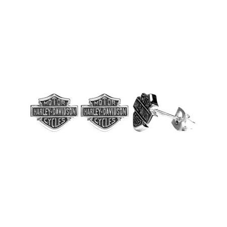 Harley-Davidson Women's Stud Earrings, Medium Bar & Shield Logo, Silver HDE0231, Harley Davidson