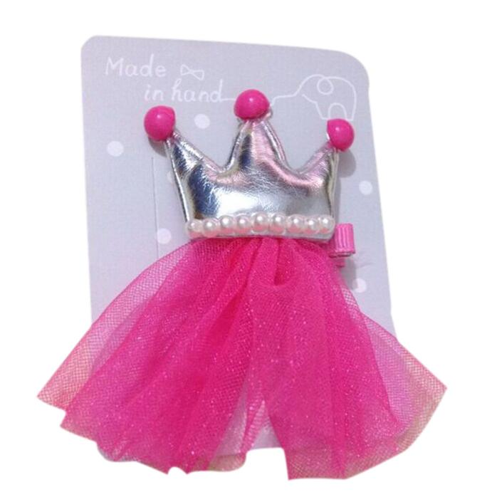 Outtop 2PCS Hair Clips Girls Imperial Crown Princess Leather Hair Style Buckle
