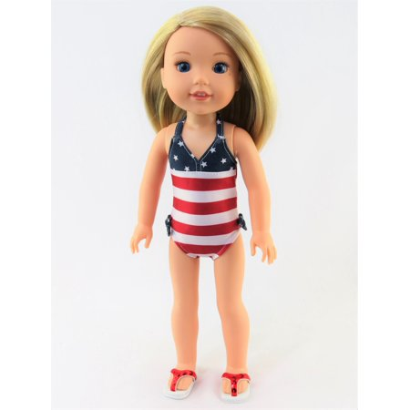 Red, White, and Cute Bathing Suit| Fits 14