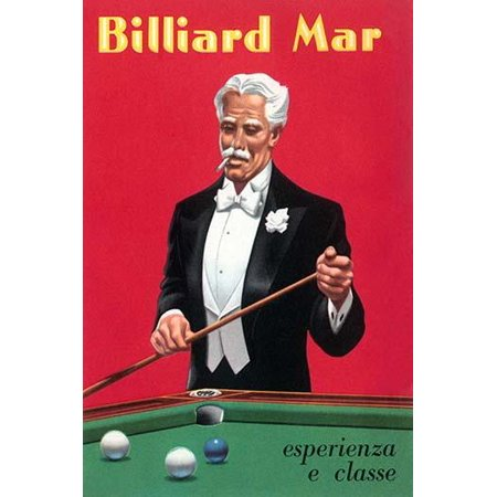 An advertising postcard for a billiard pool and snooker table