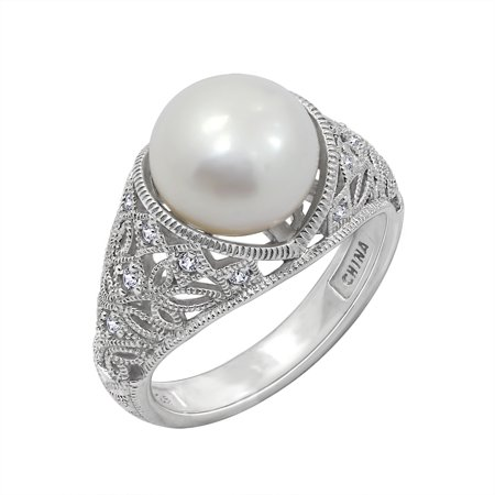Platinum Clad Cubic Zirconia Freshwater Cultured Pearl with Black and White Ring, Size