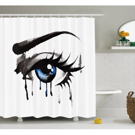Extra Long Eyelashes (Eye Shower Curtain, Dramatic Artwork of a Woman Eye with Dripping Paint Curvy Eyebrow and Long Lashes, Fabric Bathroom Set with Hooks, 69W X 84L Inches Extra Long, Black Grey Blue, by Ambesonne)