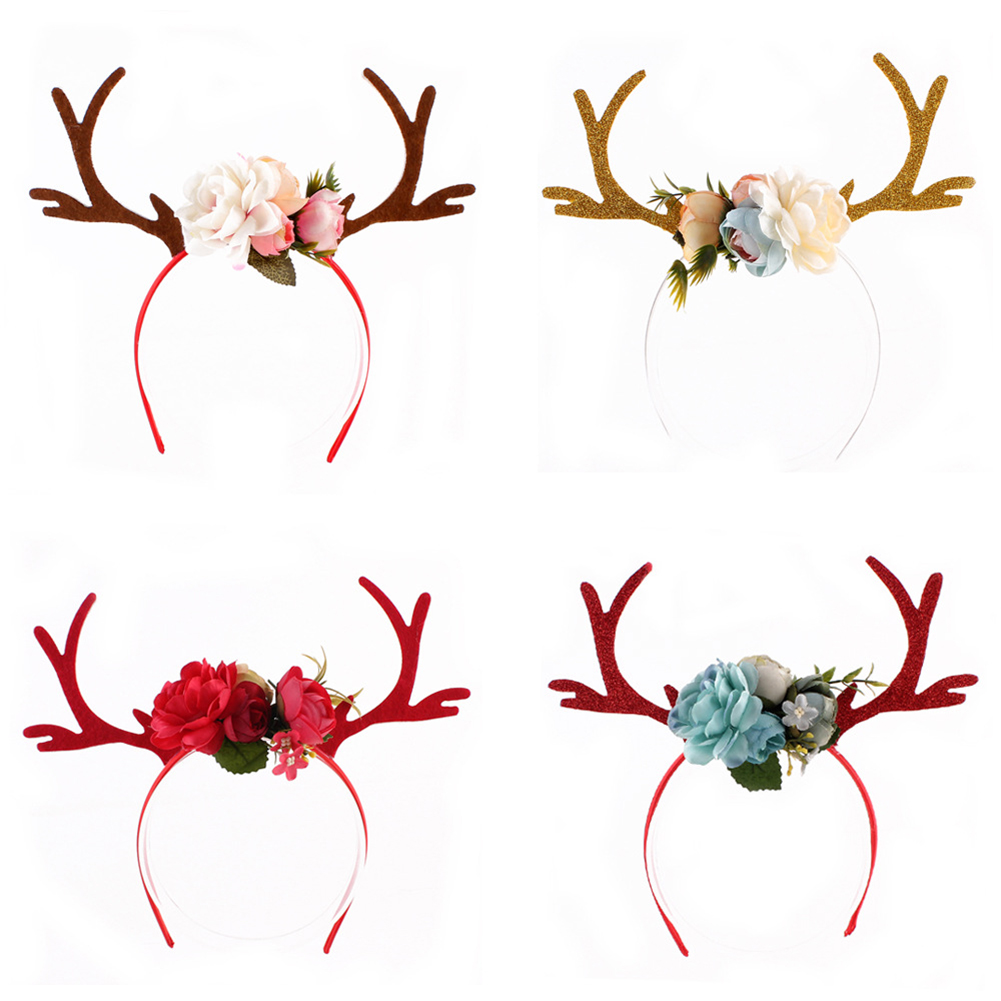 Moderna Deer Antlers Flower Headband Baby Girl Headdress Party Headwear Cosplay Costume