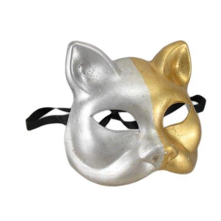 Gold and Silver Finish Half Face Carnivale Gatto Cat Mask Halloween - image 3 de 3