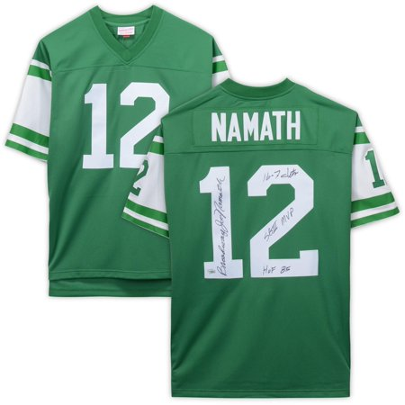 Joe Namath Hand Signed (Joe Namath New York Jets Autographed Green Mitchell & Ness Replica Jersey with Multiple Inscriptions - Limited Edition of 12 - Fanatics Authentic Certified)