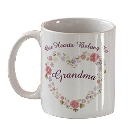 Personalized Floral Heart Mug