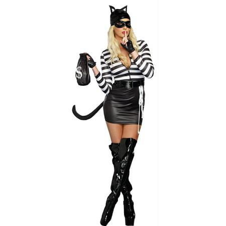 Dreamgirl Women's Cat Burglar Costume, Black/White, Small - image 1 of 1