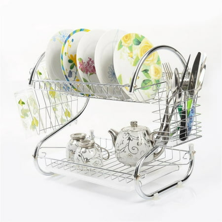 Kitchen Stainless Steel Dish Cup Drying Rack Holder 2-Tier Dish Rack Sink Drainer