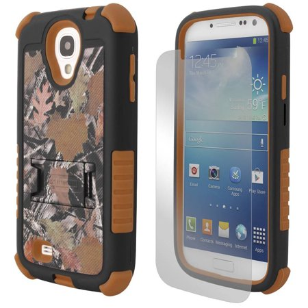 BEYOND CELL HUNTER LEAF CAMO TRI-SHIELD CASE COVER STAND FOR SAMSUNG GALAXY S4 S 4 IV (Sprint L720, Verizon i545, Tmobile m919, MetroPCS M919N, US Cellular R970, AT&T i337, Cricket R970C)