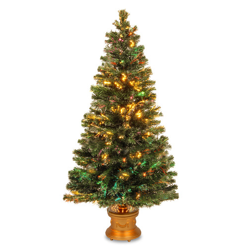 """National Tree Unlit 60"""" Fiber Optic """"Evergreen"""" Firework Artificial Christmas Tree with Top Star and Gold Base"""