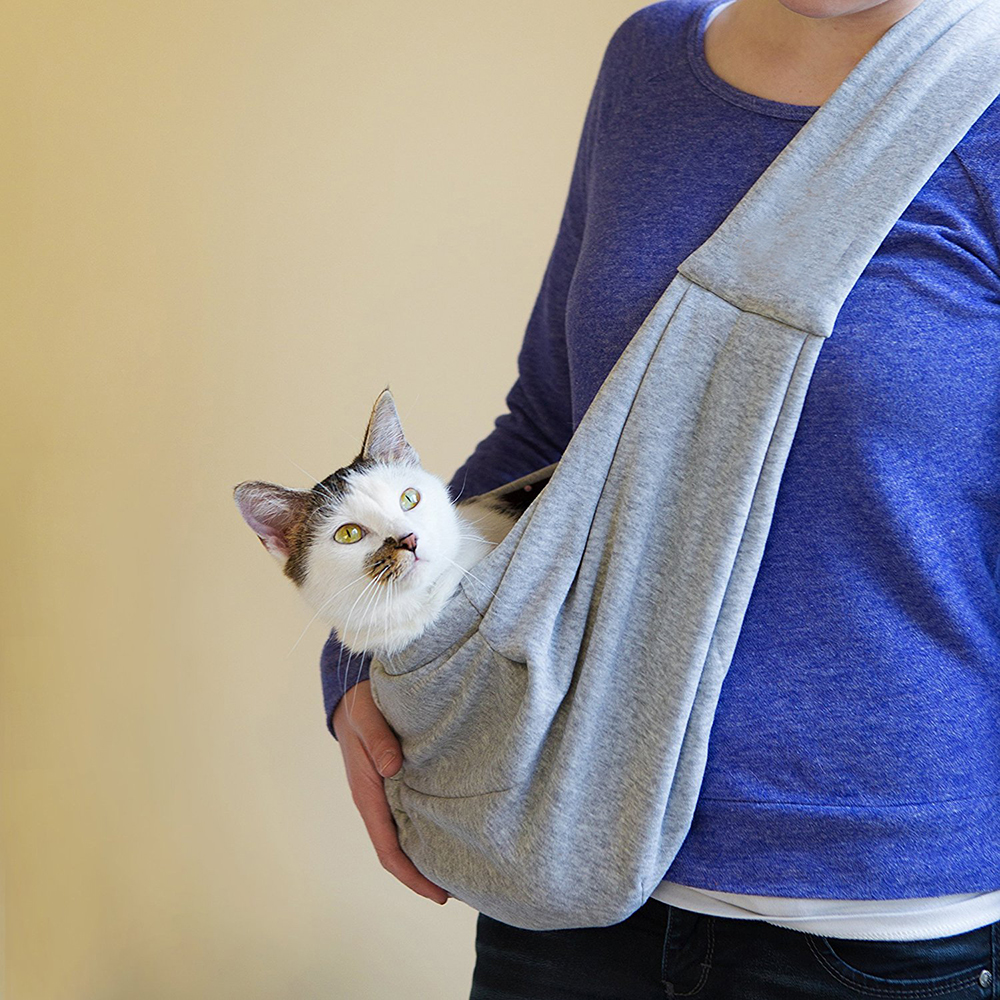 Jeobest Pet Carrier Bag - Pet Sling Carrier Bag - Reversible Small Dog Cat Sling Carrier Bag Travel Tote Soft Comfortable Puppy Kitty Rabbit Double-Sided Pouch Shoulder Carry Tote Handbag (Gray) MZ