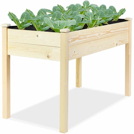 Wooden Raised Vegetable Garden Bed Elevated Grow Vegetable Planter W/Black