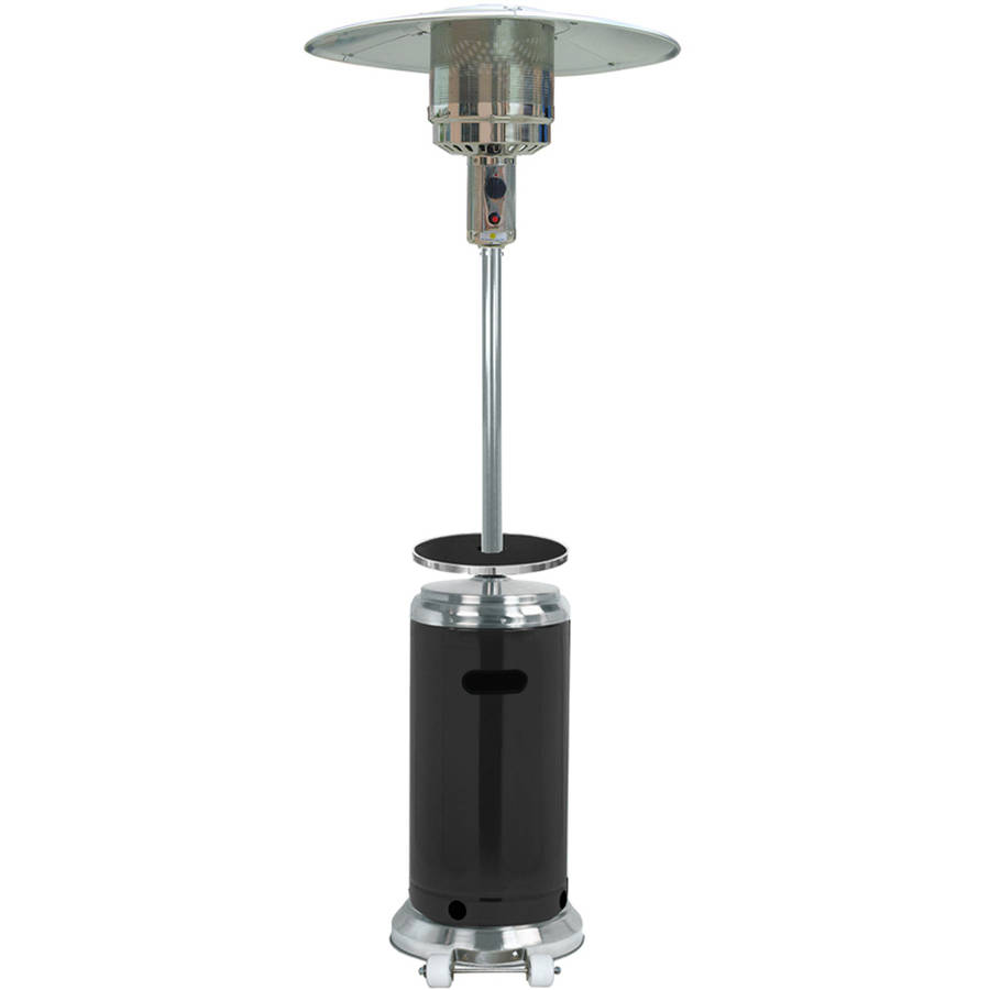 Hiland Tall Stainless Steel and Black Patio Heater with Table by Patio Heaters