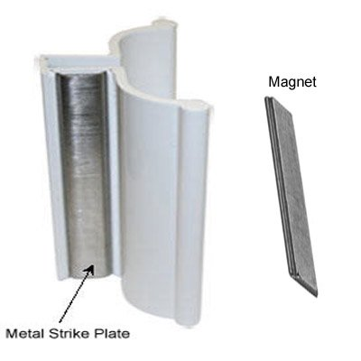 White Frameless Shower Door Handle With Metal Strike And Magnet