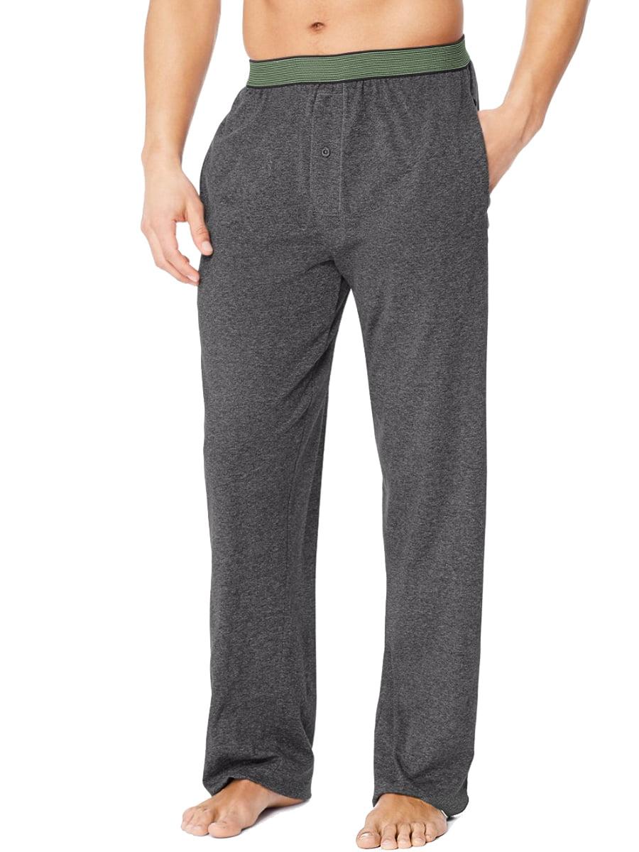 Hanes Mens X-Temp Tagless Soft Knit Cotton Lounge Sleep Pants Button Fly Pockets