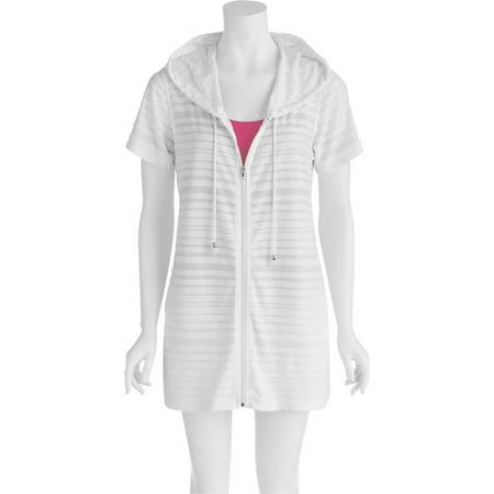 9978621d49 Catalina - Women's Plus-Size Burnout Stripe Terry Cloth Hooded Swim ...