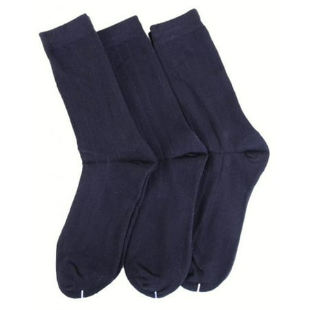 MeMoi Boys Cotton Dress Socks 3-Pack Navy 9-11