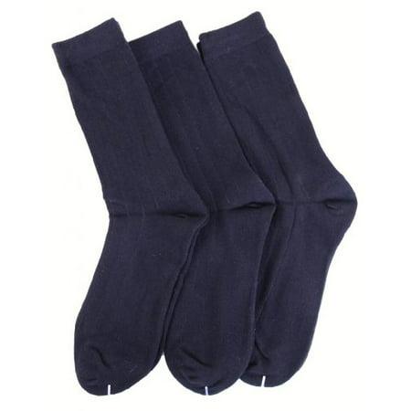 MeMoi Boys Cotton Dress Socks 3-Pack Navy 9-11
