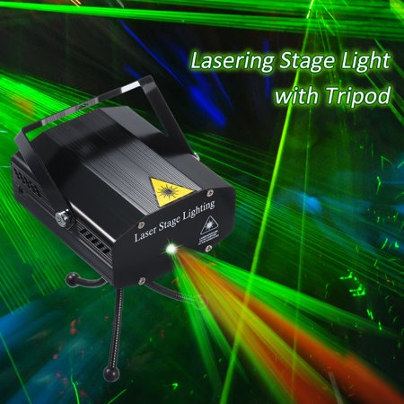 AC 110-240V LEDs Lasering Stage Light with Tripod 6 Patterns Sound-activated Red & Green Light Patterns Stage Projector for DJ Disco Show Party Dance Lighting - image 2 of 7