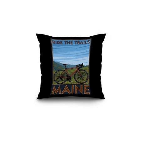 Maine Bicycle Scene Lantern Press Poster 18x18 Spun Polyester Pillow B