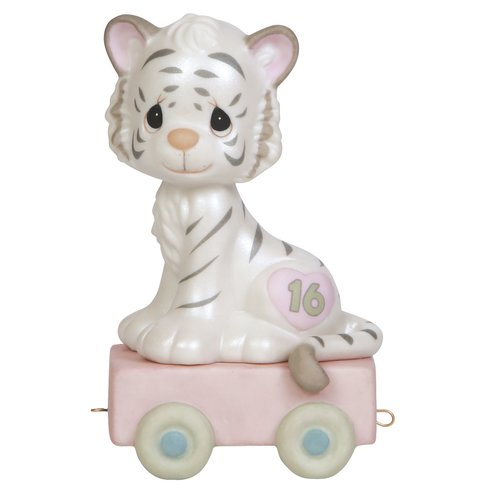 Precious Moments, 16 And Feline Fine, Birthday Train Age 16, Bisque Porcelain Figurine, 142036 by Precious Moments