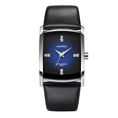 - Men's Dress Sport Watch, Black Leather Strap