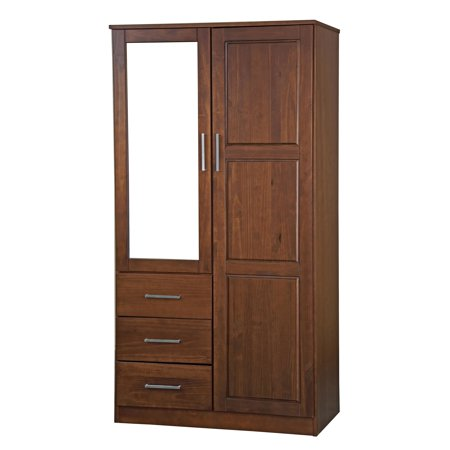 Palace Imports Metro 2 Door Wardrobe Armoire With Mirror 3 Drawers