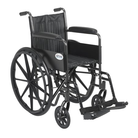 Drive Medical Silver Sport 2 Wheelchair, Non Removable Fixed Arms, Swing away Footrests