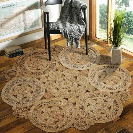Lr Home Natural Jute Fl Fantasy Hand Braided Round Indoor Area Rug 8 X