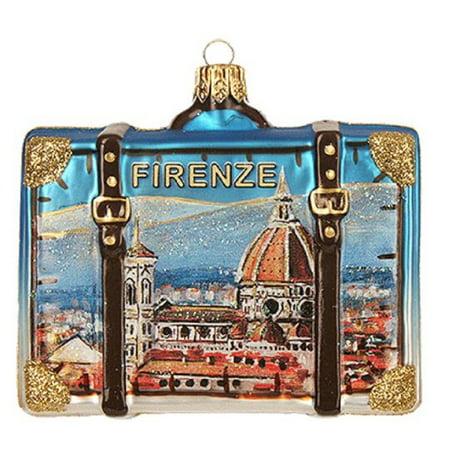 Polish Decorations (Florence Italy Travel Suitcase Polish Glass Christmas Tree Ornament)